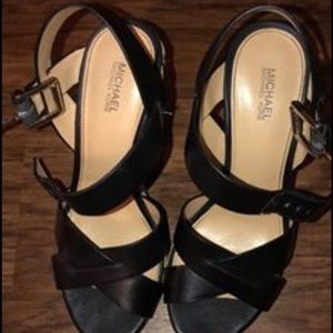 Micheal Kors Black & Tan Wedges